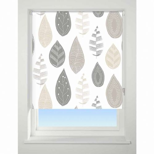 Universal Patterned Blackout Roller Blind - Leaf Neutral